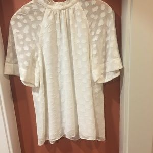 Anthropologie white falling leaves top